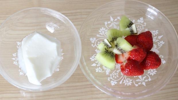 Helado de yogurt con tropezones de fruta para perros