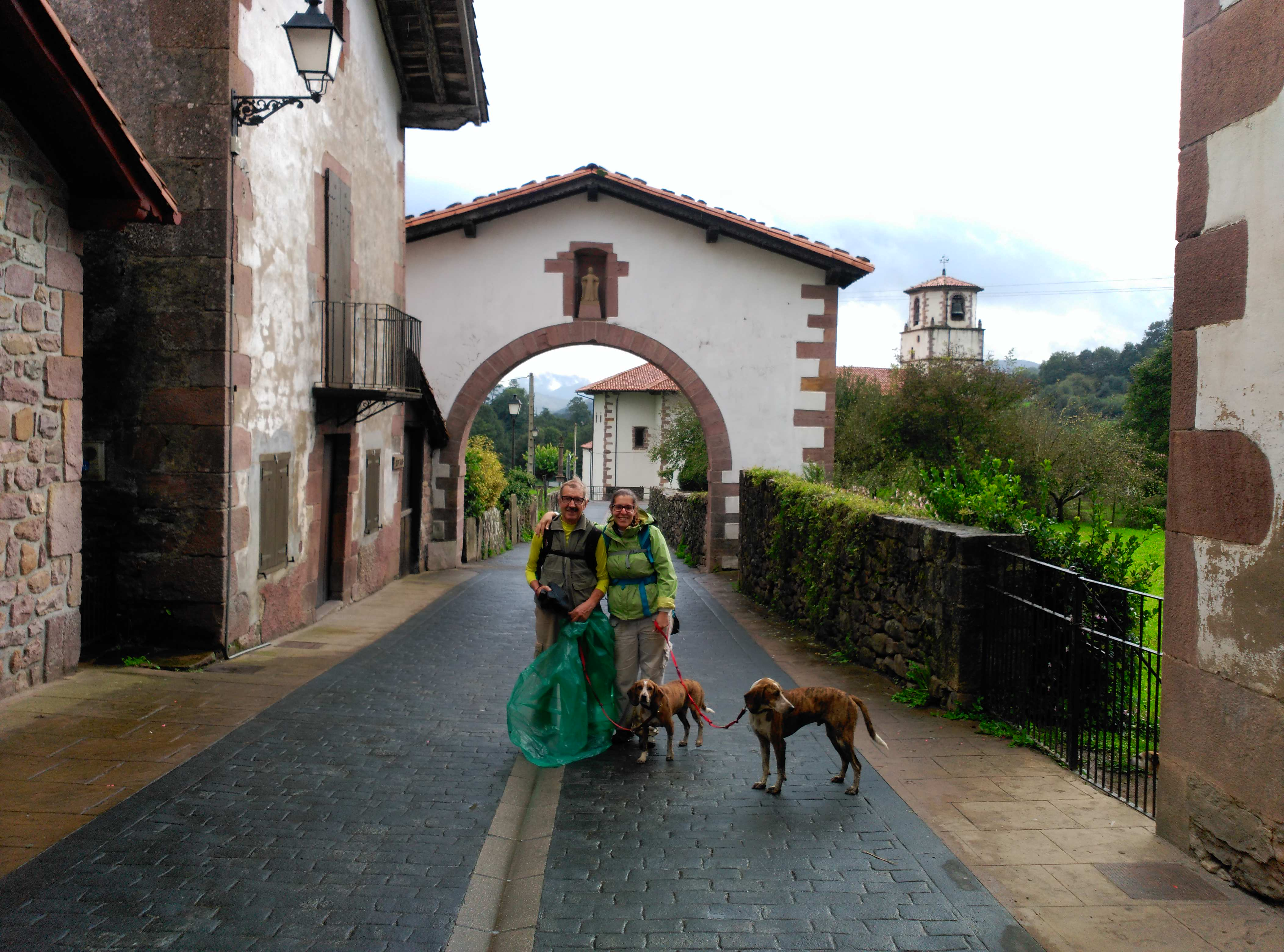 Camino con perros: Segunda etapa después de subir el Puerto de Otsondo en Amaiur Maya