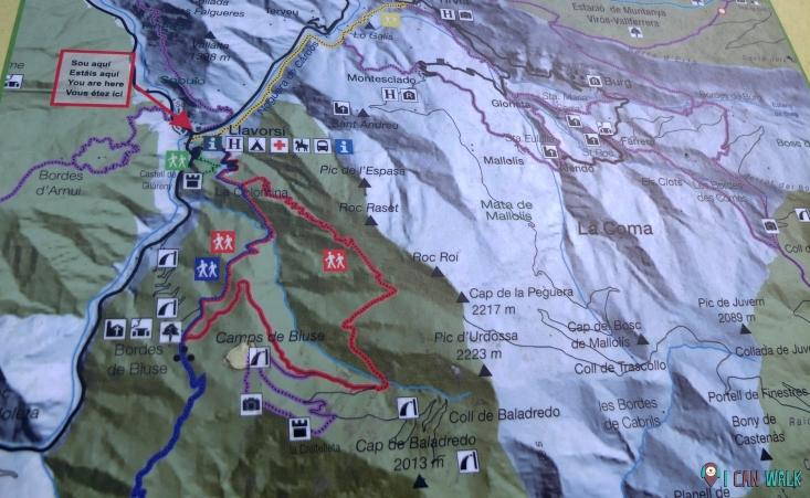 Mapa indicativo de algunas de las opciones de ruta